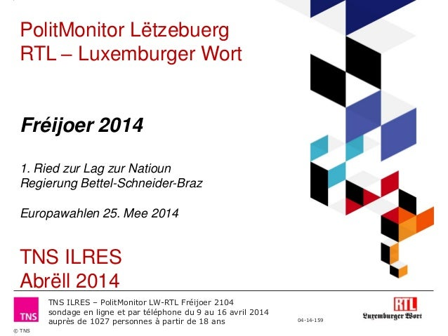 Polit Monitor RTL/Luxemburger Wort - Frühjahr 2014