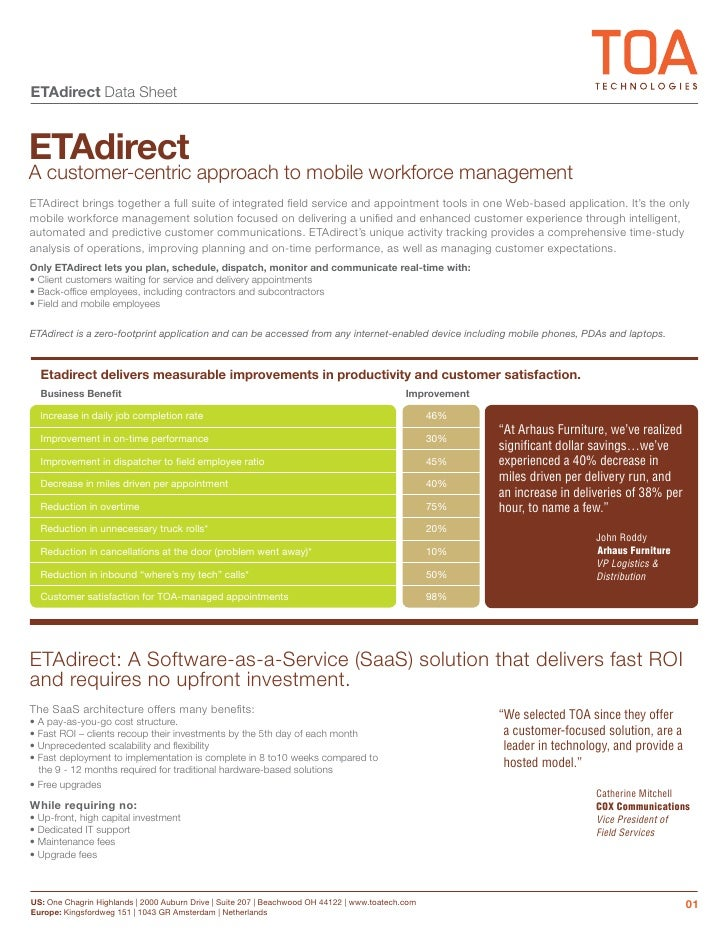 ETAdirect Data Sheet   ETAdirect A customer-centric approach to mobile workforce management ETAdirect brings together a fu...