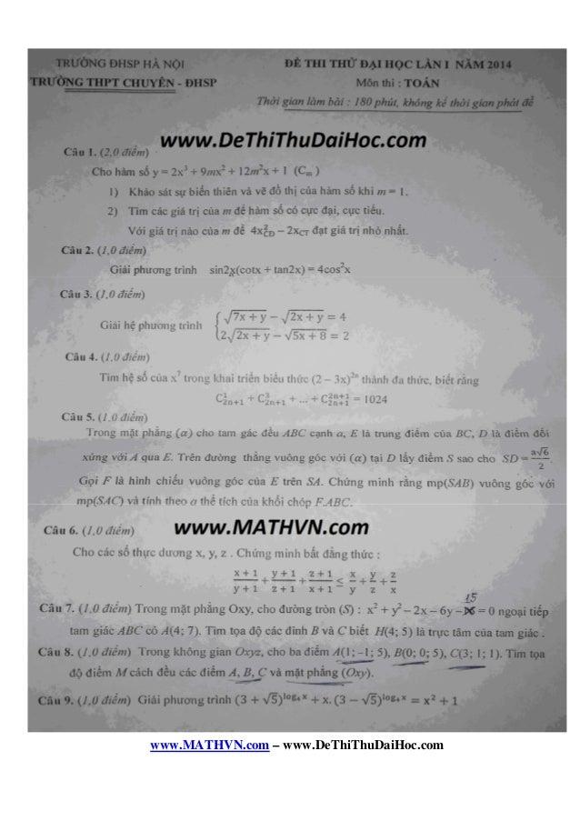www.MATHVN.com – www.DeThiThuDaiHoc.com