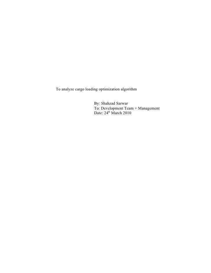 To Analyze Cargo Loading Optimization Algorithm