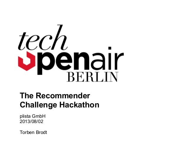 #TOA13 - Tech Opoen Air Recommender Hackathon