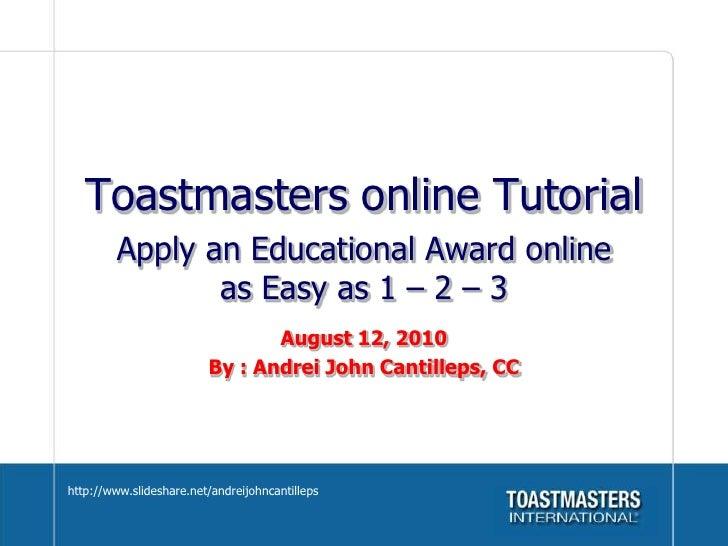Toastmasters award application tutorial