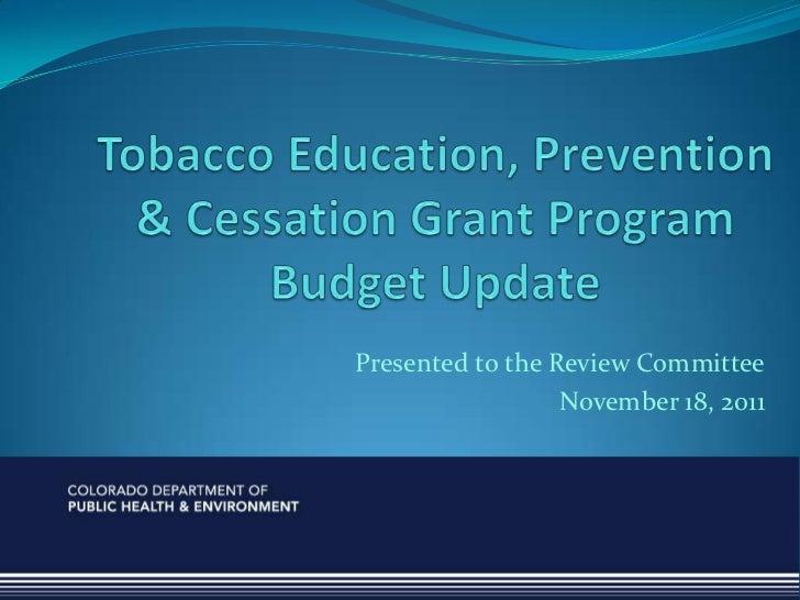 Tobacco budget update nov 2011a