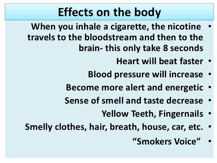 Effects of nicotine on the body?