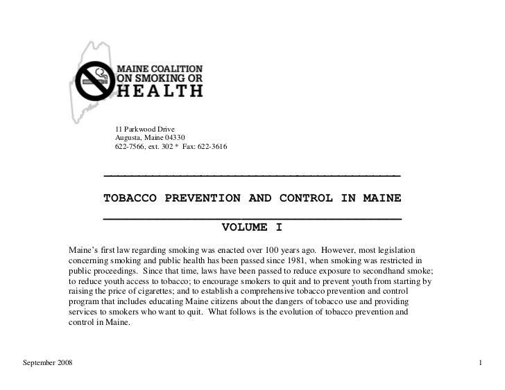 Maine Tobacco Control Timeline, 1897-2008