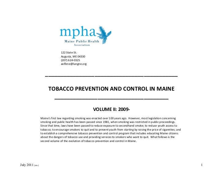 Maine Tobacco Control Timeline, January 2009-July 2011 (Updated July 24, 2011)