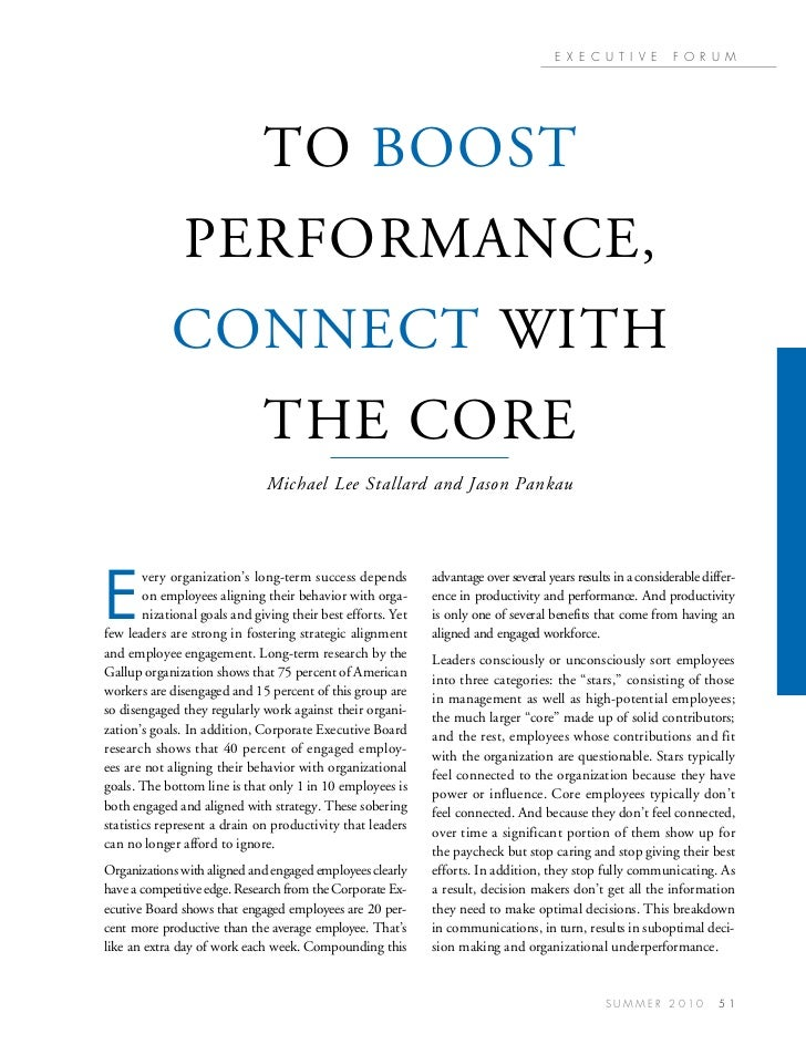 To boost performance connect with the core