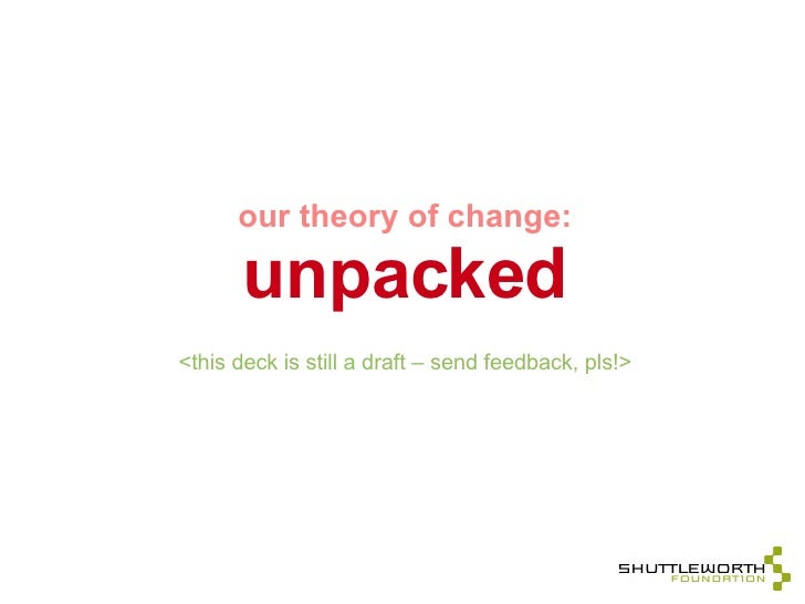 Shuttleworth Theory of Change - Unpacked