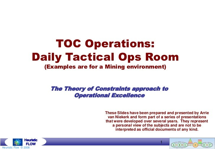 TOC Operations:                        Daily Tactical Ops Room                             (Examples are for a Mining envi...
