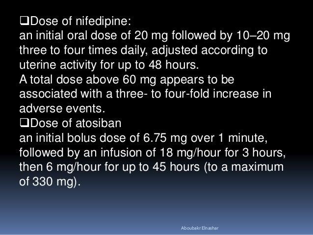 Nifedipine Dosage For Preterm Labor