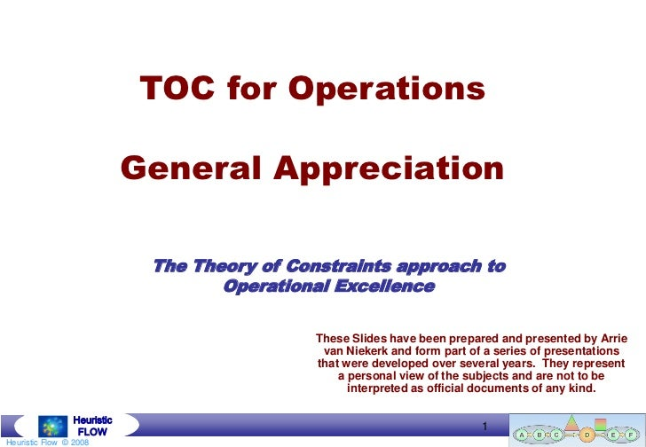TOC for Operations                             General Appreciation                              The Theory of Constraints...