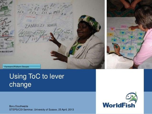 Using ToC to leverchangeBoru DouthwaiteSTEPS/CDI Seminar, University of Sussex, 25 April, 2013
