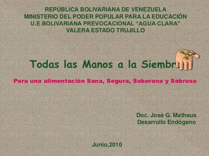 REPÚBLICA BOLIVARIANA DE VENEZUELA<br />MINISTERIO DEL PODER POPULAR PARA LA EDUCACIÓN<br />U.E BOLIVARIANA PREVOCACIONAL ...