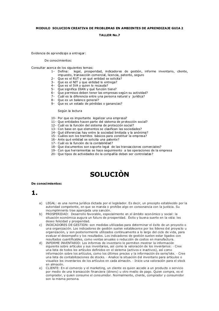 MODULO SOLUCION CREATIVA DE PROBLEMAS EN AMBIENTES DE APRENDIZAJE GUIA 2                                              TALL...