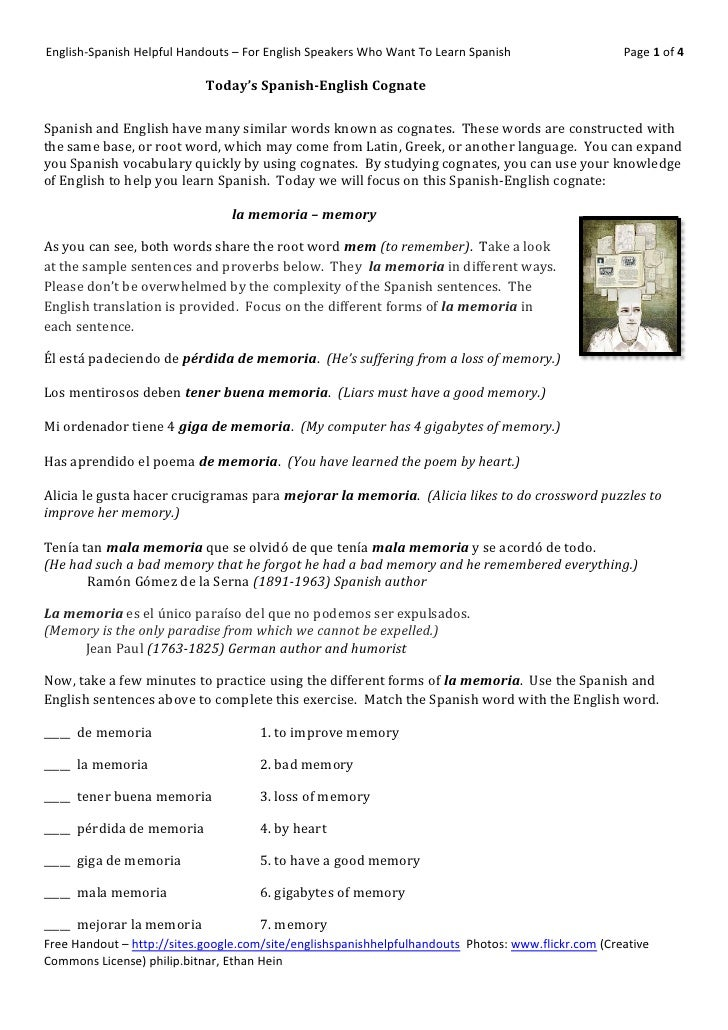 English-Spanish Helpful Handouts – For English Speakers Who Want To Learn Spanish                    Page 1 of 4          ...