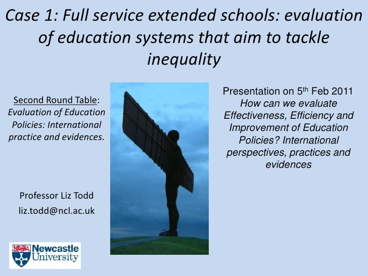 Case 1: Full service extended schools: evaluation of education systems that aim to tackle inequality / Liz Todd