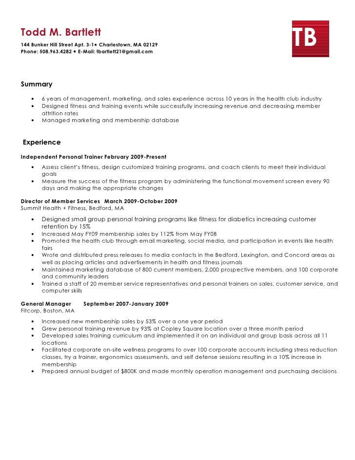 Group fitness resume