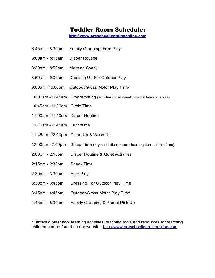 Toddler room daily schedule