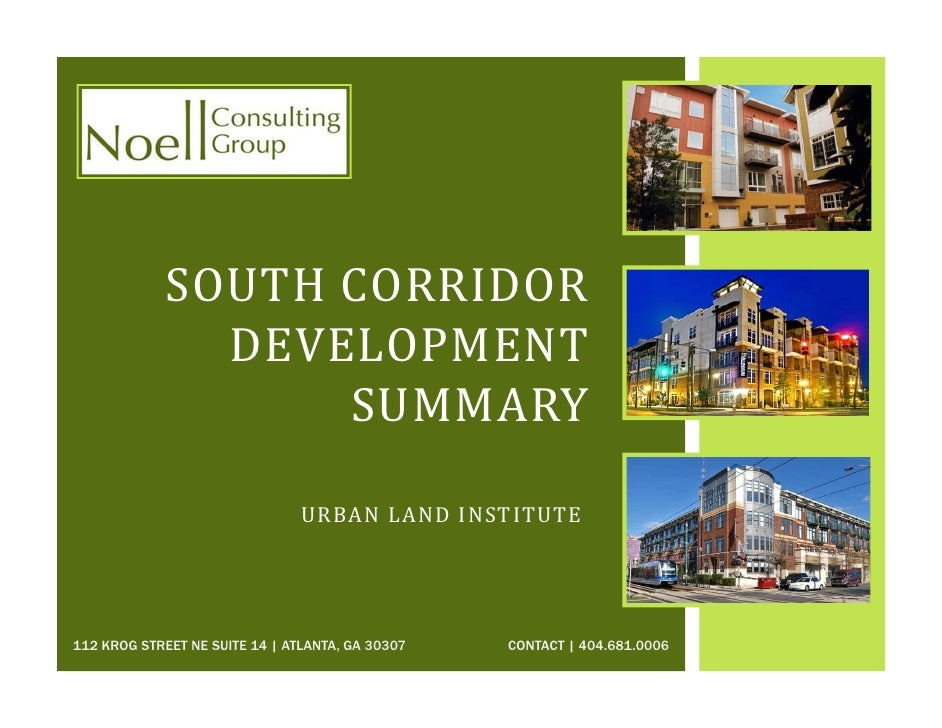 South Corridor Development Summary