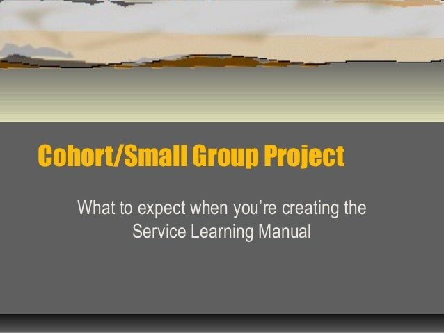 Cohort/Small Group Project What to expect when you're creating the Service Learning Manual
