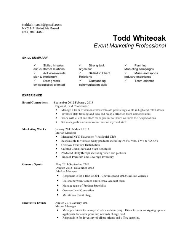 Todd whiteoak resume