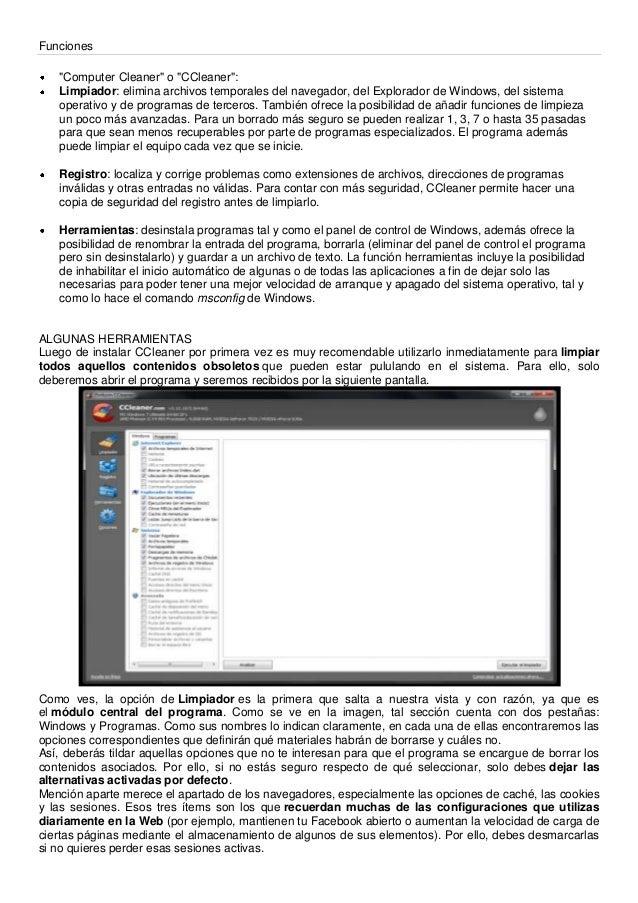 """Funciones""""Computer Cleaner"""" o """"CCleaner"""":Limpiador: elimina archivos temporales del navegador, del Explorador de Windows, ..."""