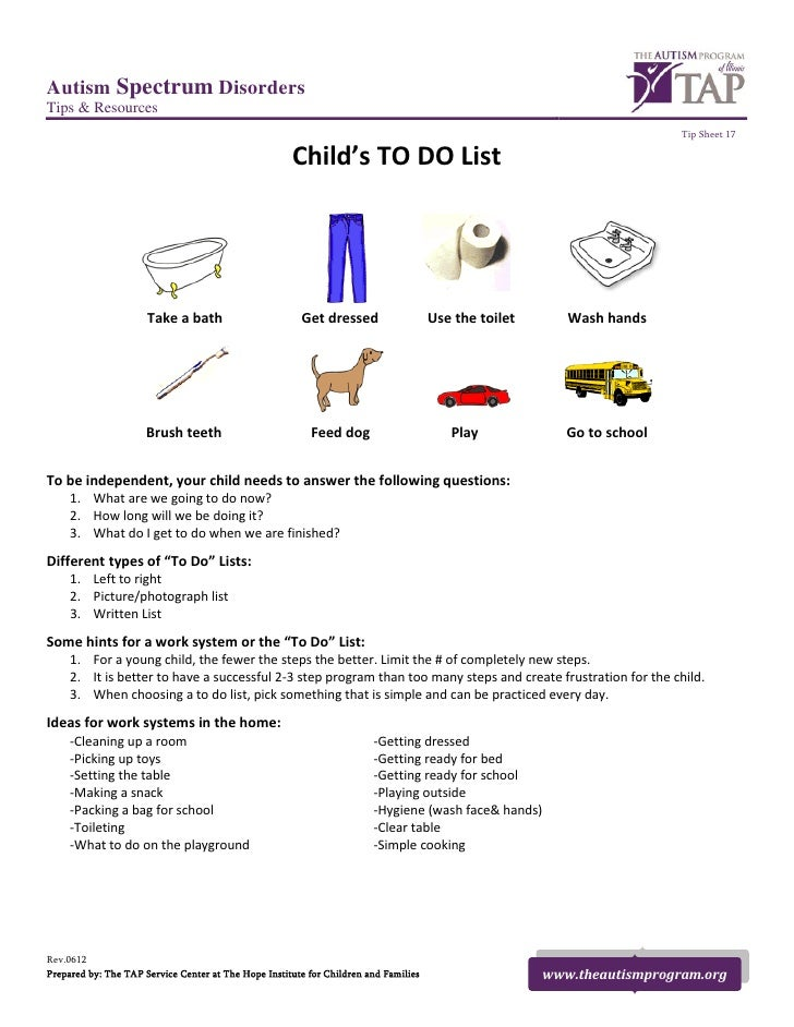 TAP Tip Sheet: Child's TO DO List