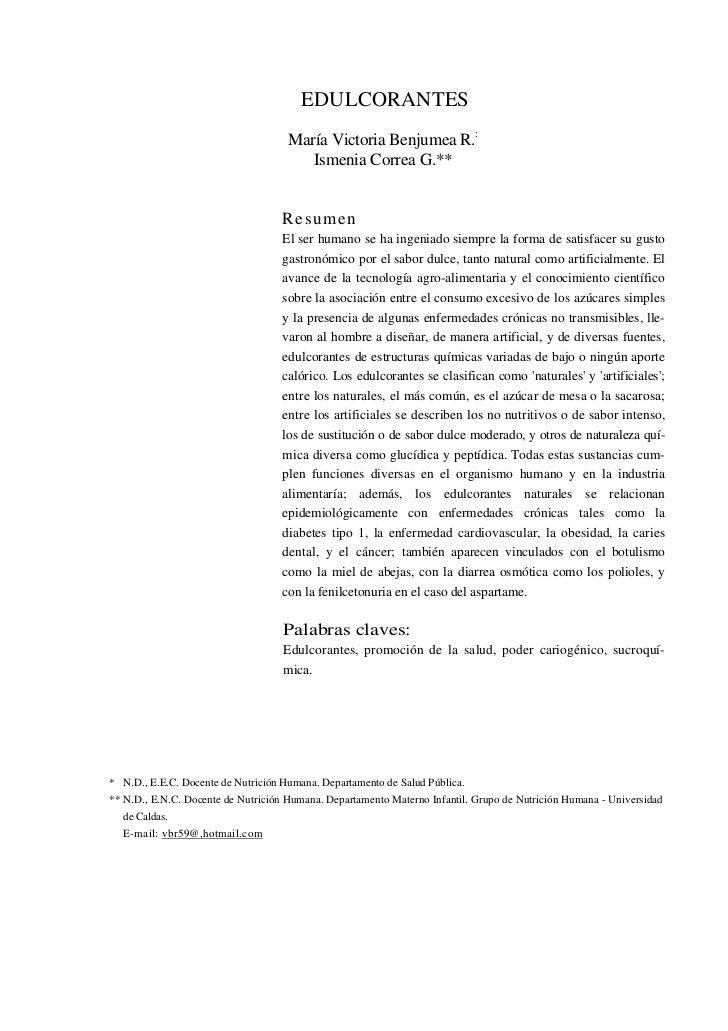 EDULCORANTES                                     María Victoria Benjumea R.:                                        Ismeni...