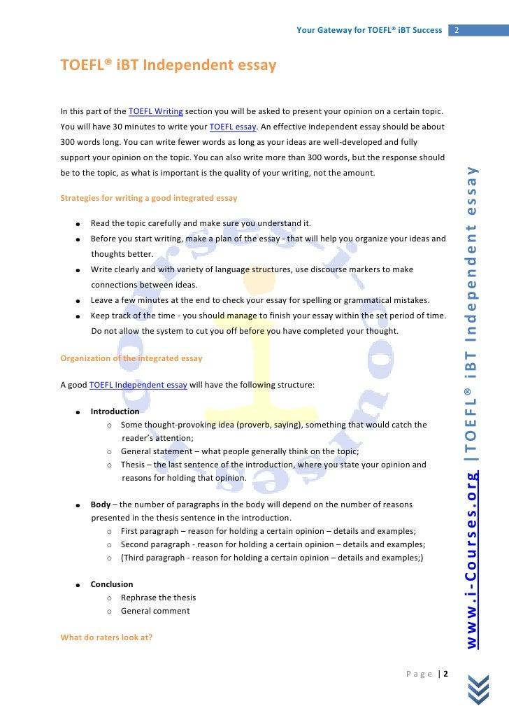 Write my free toefl writing integrated essay exercises