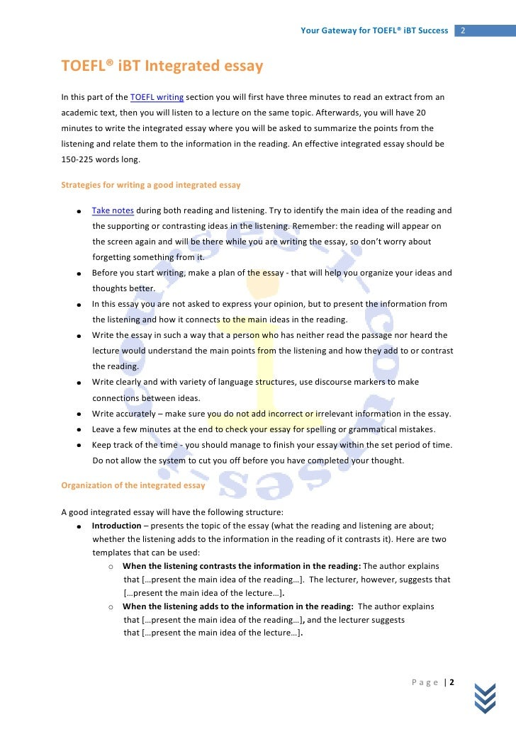 toefl integrated essay question Mastering the toefl integrated essay the integrated essay task is the first part of the toefl's writing section it begins with a four-paragraph article about an academic.