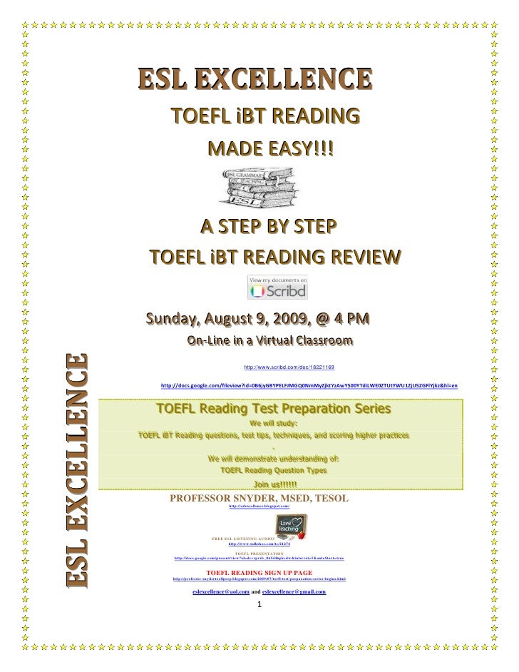 ESL EXCELLENCE                              TOEFL iBT READING                                                 MADE EASY!!!...