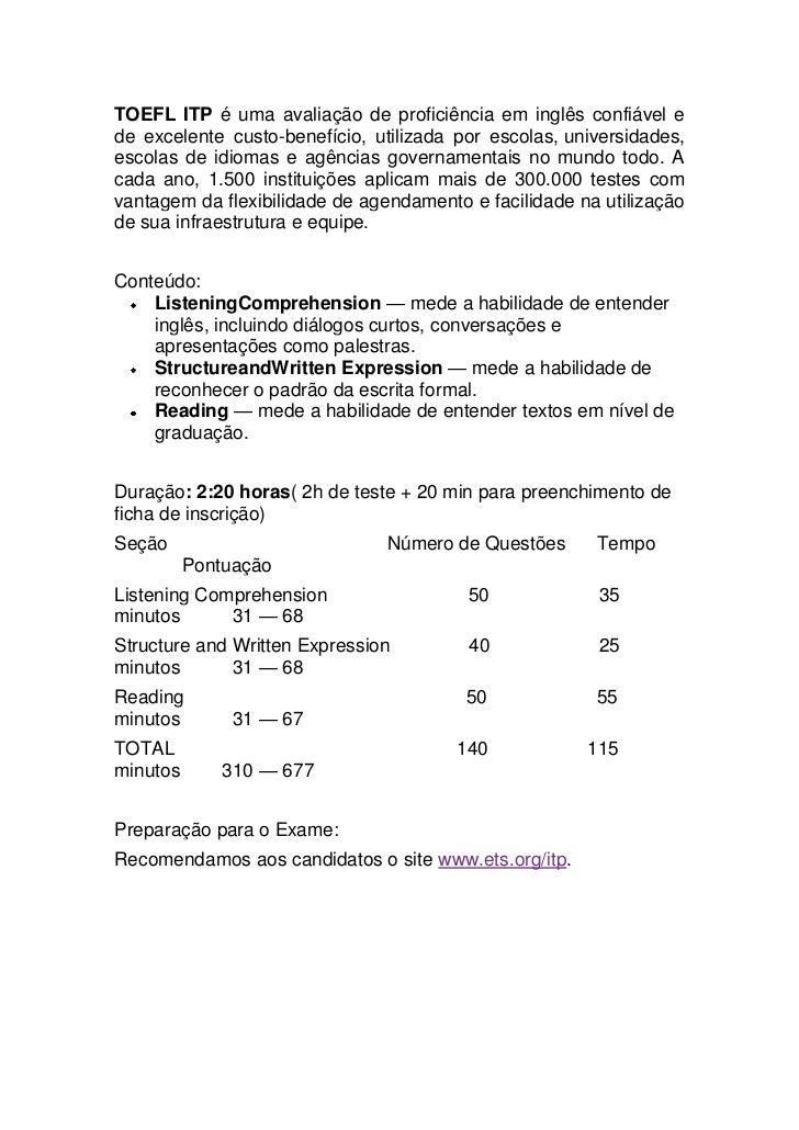 Toefl itp  general information