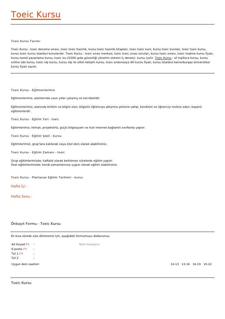 Toeic KursuToeic Kursu TanımıToeic Kursu : toeic deneme sınavı, toeic toeic hazırlık, kursu toeic hazırlık kitapları, toei...