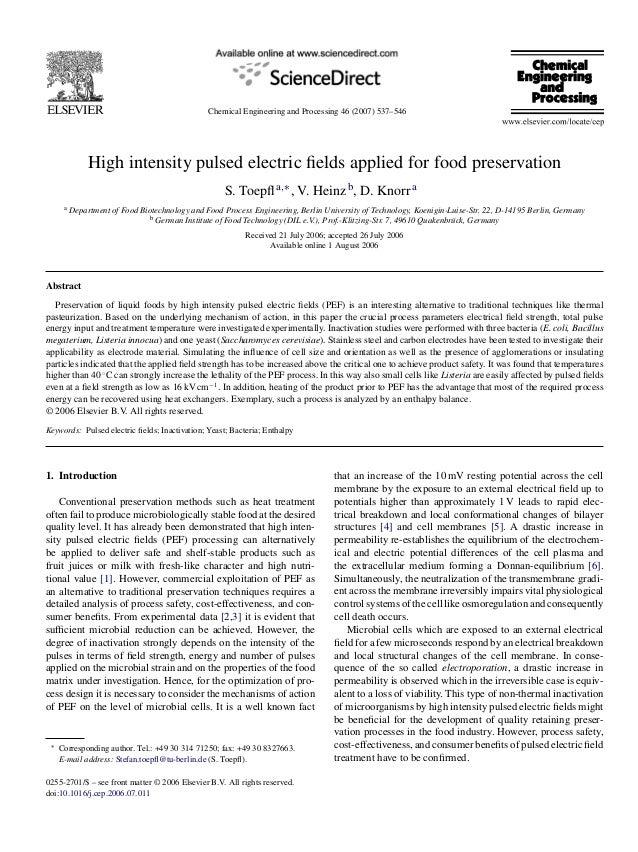 Toepfletal 2007b - PEF applied for food preservation