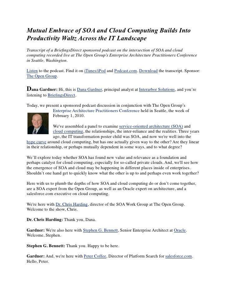 Mutual Embrace of SOA and Cloud Computing Builds Into Productivity Waltz Across the IT Landscape