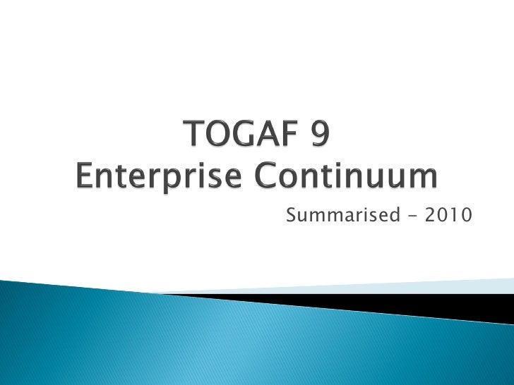 TOGAF 9 Enterprise Continuum