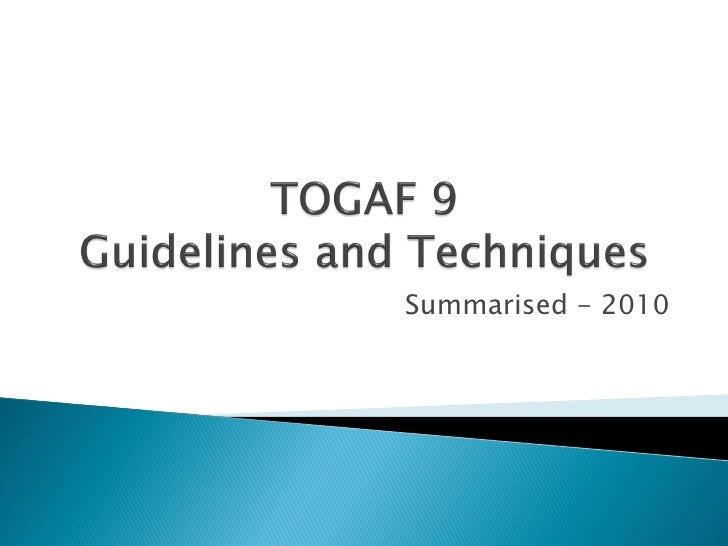 TOGAF 9   Guidelinesand Techniques Ver1 0