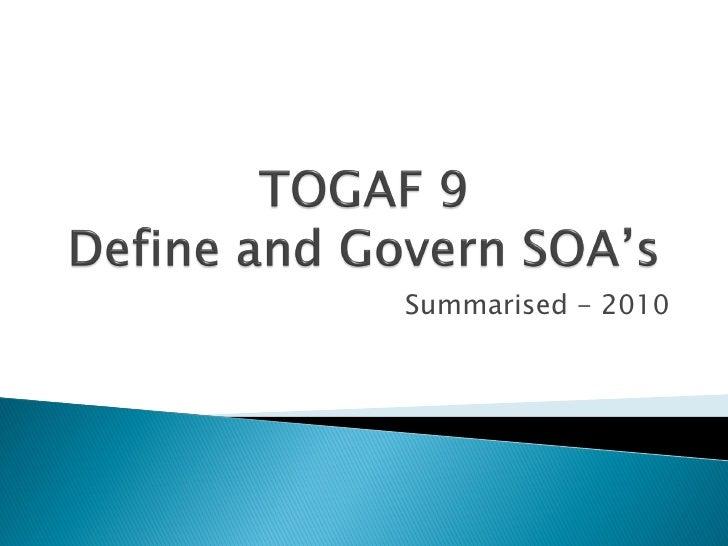 TOGAF 9   Soa Governance Ver1 0