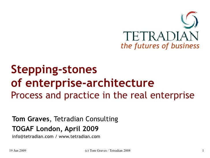 Stepping-stones of enterprise-architecture: Process and practice in the real enterprise