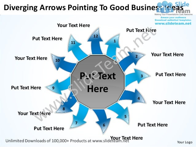 Diverging Arrows Pointing To Good Business Ideas                        Your Text Here                                    ...
