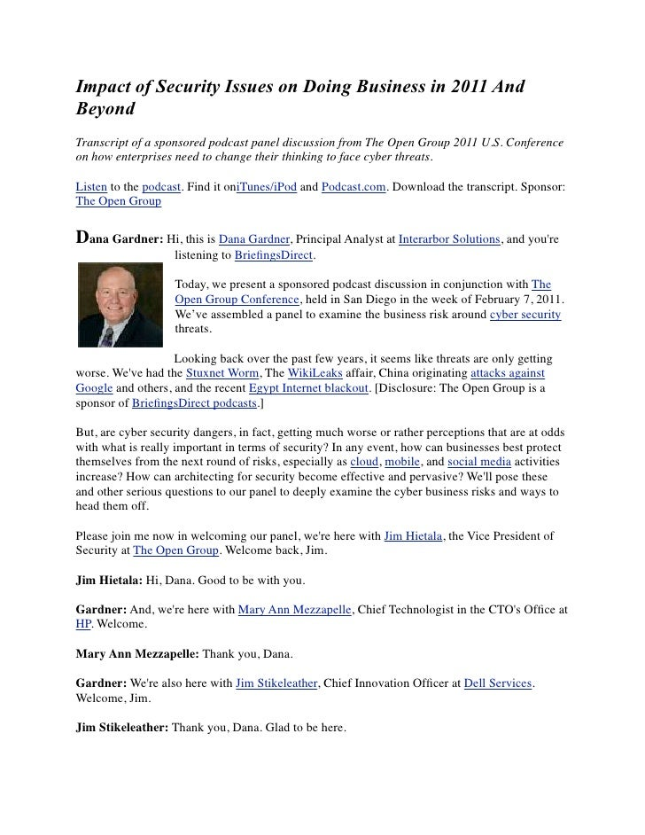 Impact of Security Issues on Doing Business in 2011 AndBeyondTranscript of a sponsored podcast panel discussion from The O...