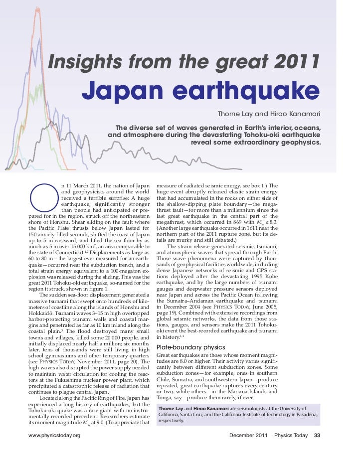 Insights from the great 2011 Japan earthquake - December 2011