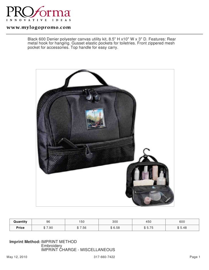 "Black 600 Denier polyester canvas utility kit, 8.5"" H x10"" W x 3"" D. Features: Rear                metal hook for hanging...."