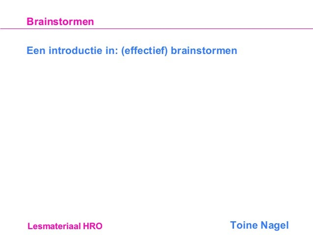 Introductie In Brainstorming | door Toine Nagel