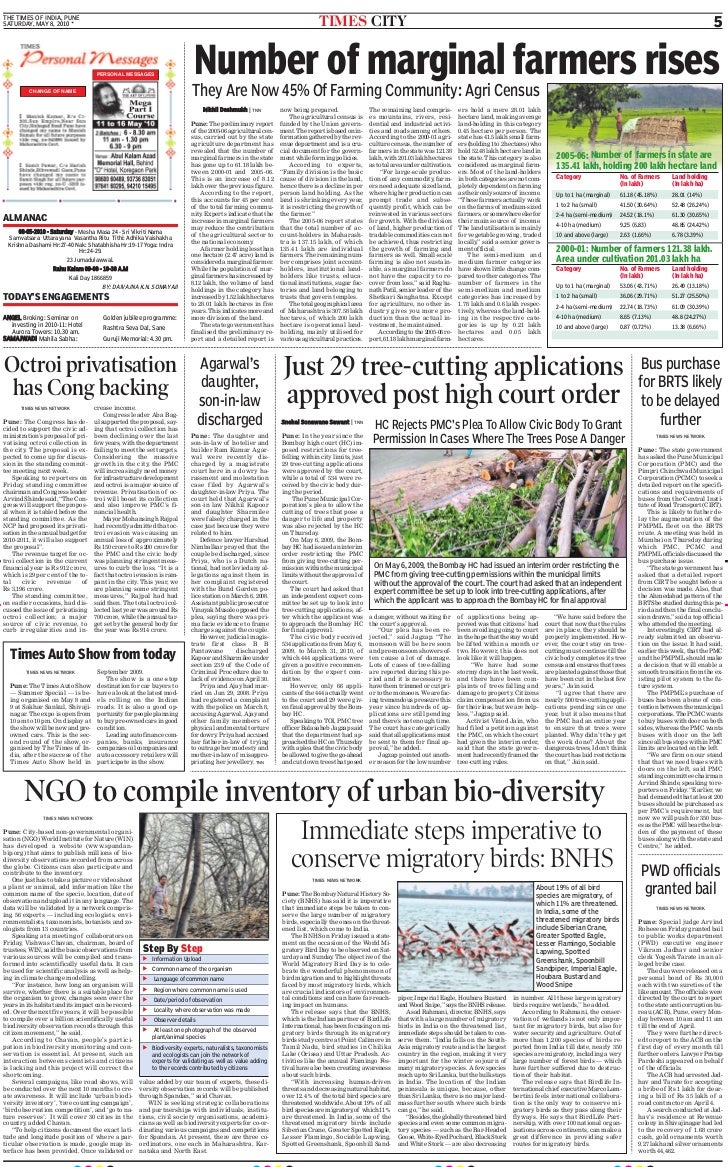 THE TIMES OF INDIA, PUNE SATURDAY, MAY 8, 2010 *                                                                          ...