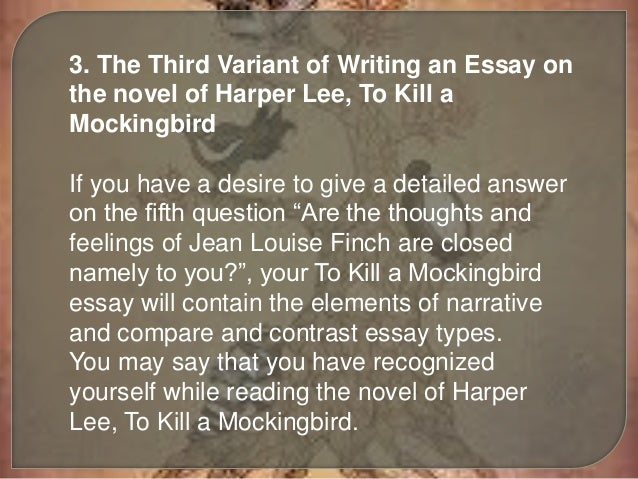 to kill a mockingbird essay introduction The most important theme of the novel to kill a mockingbird is the author harper lee's tenacious exploration of the moral nature of people lee.