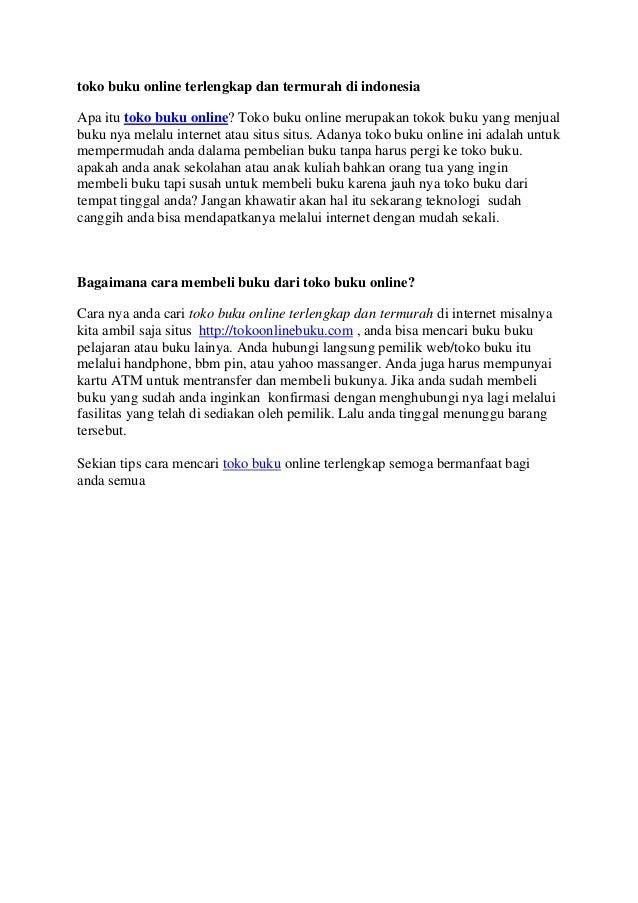 toko buku online terlengkap dan termurah di indonesia Apa itu toko buku online? Toko buku online merupakan tokok buku yang...