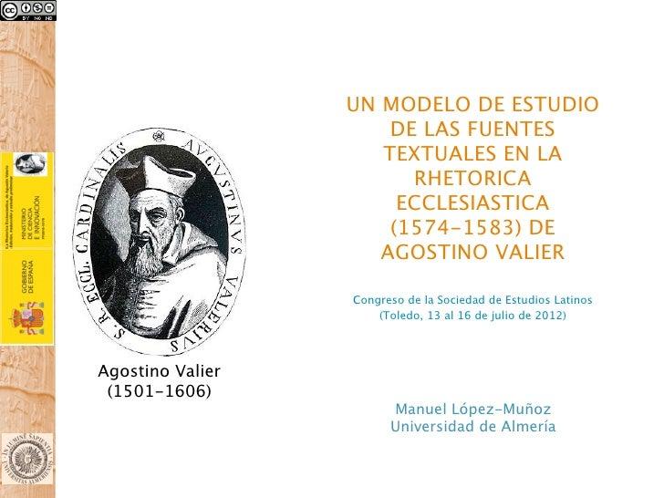UN MODELO DE ESTUDIO                      DE LAS FUENTES                     TEXTUALES EN LA                        RHETOR...