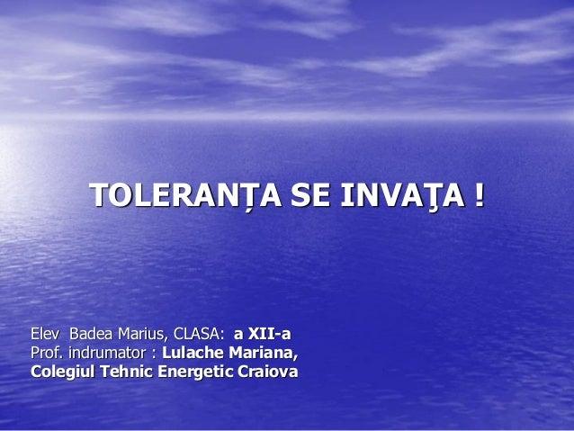 TOLERANȚA SE INVAŢA !  Elev Badea Marius, CLASA: a XII-a Prof. indrumator : Lulache Mariana, Colegiul Tehnic Energetic Cra...