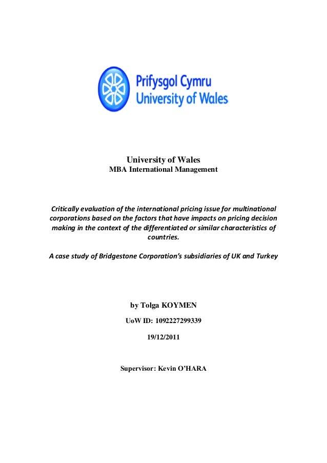University of Wales                   MBA International ManagementCritically evaluation of the international pricing issue...